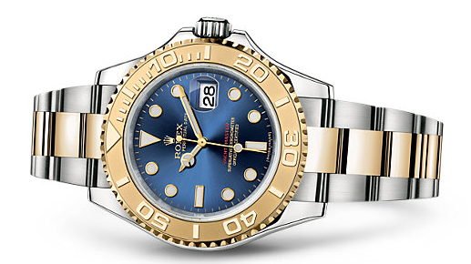 Luxury Steel And Yellow Gold Rolex Yacht-Master Replica Watches With Blue Dials