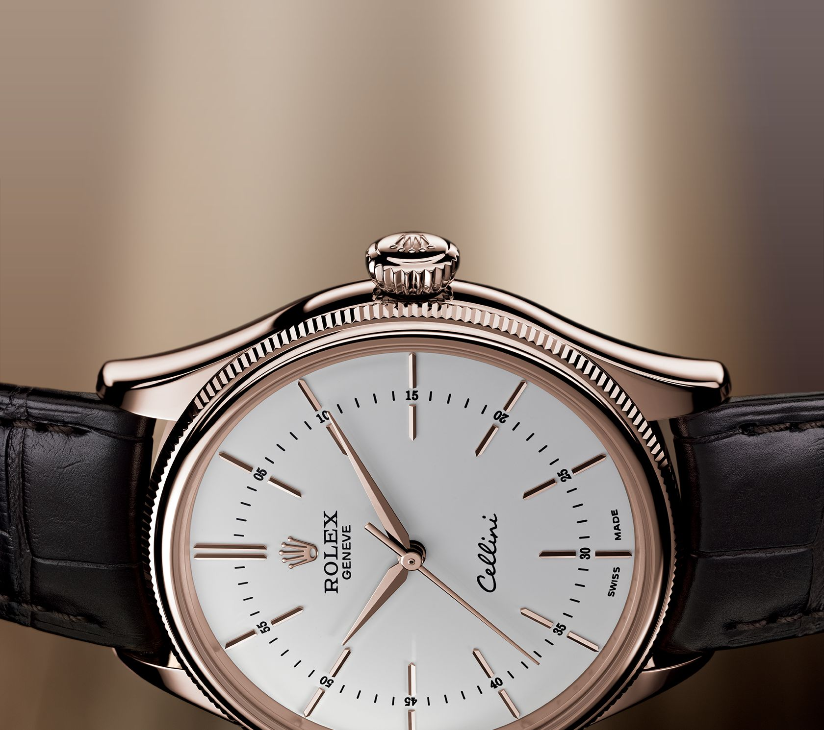 Everose Gold Hands Rolex Cellini Time Replica Watches