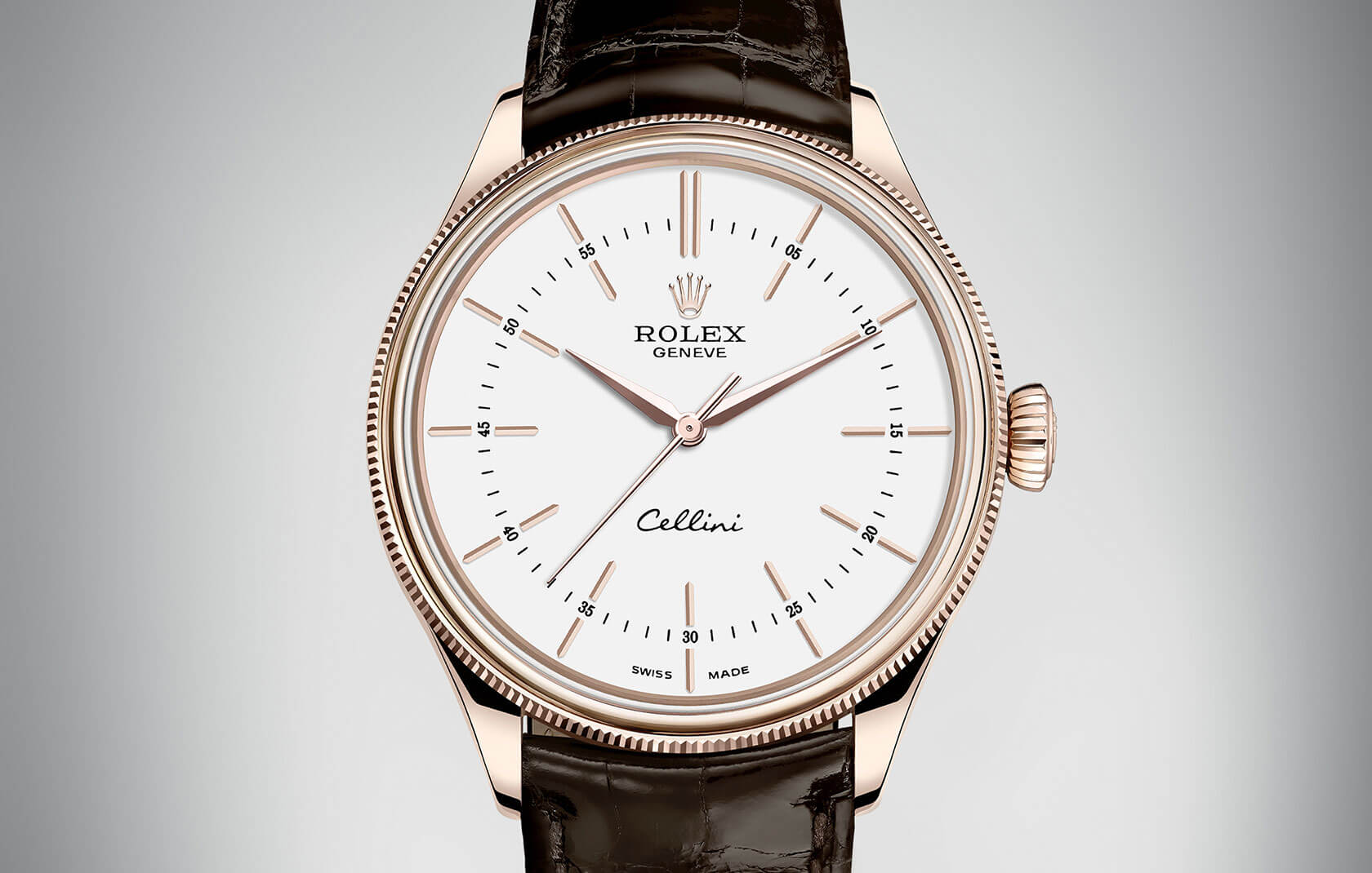 Tobacco Leather Strap Rolex Cellini Time Copy Watches
