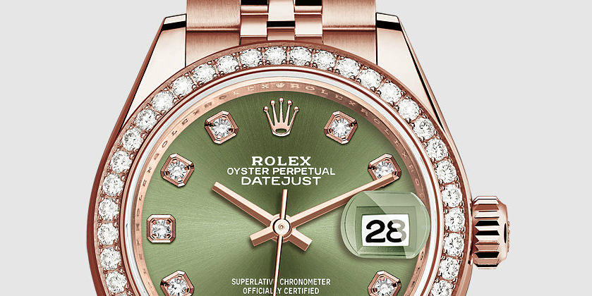 Everose Gold Hands Rolex Lady-Datejust 28 Copy Watches