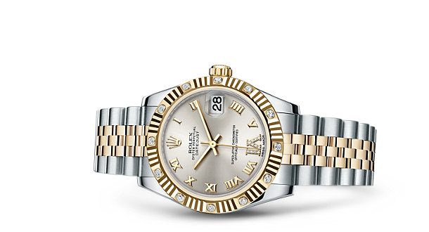 Rolex Lady-Datejust 178313 Replica Watches With 18CT Golden Crowns