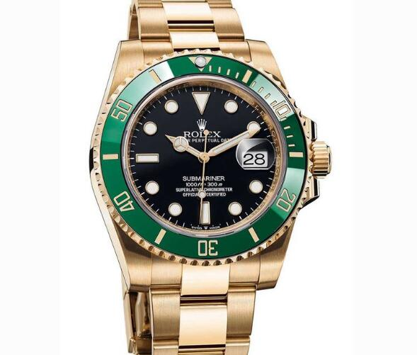 The green bezel with gold case is luxurious.