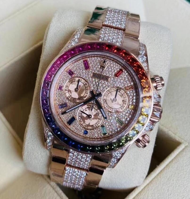Swiss made replica watches are corvered with diamonds on the dials.