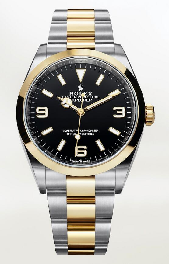 Online replica watches perfectly combine Oystersteel and gold material.
